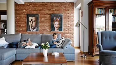 Do nowoczesnego salonu atmosferę zasiedzenia wprowadzają stare meble, jak biblioteczka i fotel-uszak.