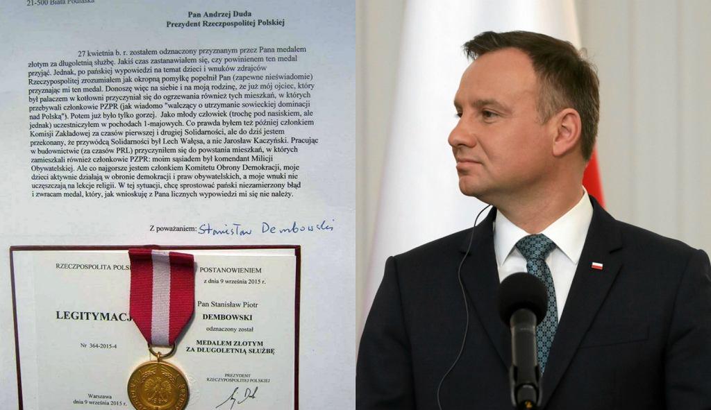 Medal, który pan Stanisław chce oddać Andrzejowi Dudzie