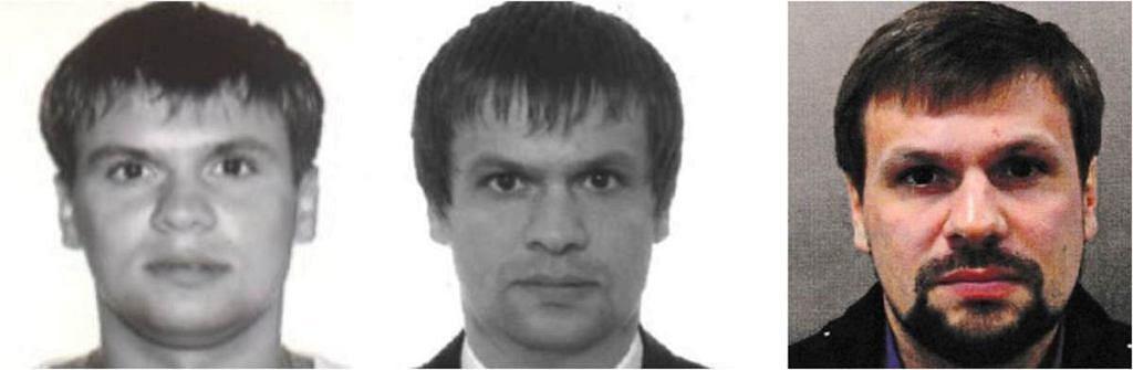 Obywatel Czepiga. Od lewej zdjęcie z normalnego wniosku o paszport rosyjski złożonego w 2003 roku. Potem z wniosku z 2008 roku o fałszywy paszport na nazwisko Boszirow, na który wjechał do Wielkiej Brytanii jako turysta. Ostatnie to zdjęcie osoby podejrzanej o otrucie Skripala, opublikowane przez brytyjskie służby