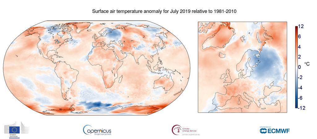 Anomalia temperatury powietrza na powierzchni w lipcu 2019 r. w stosunku do średniej lipcowej w latach 1981-2010
