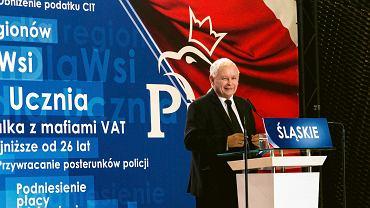 Jarosław Kaczyński na konwencji w Katowiczach