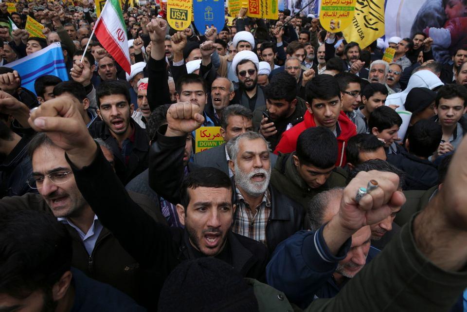 Demonstracja antyamerykańska w Teheranie 4.11.2018