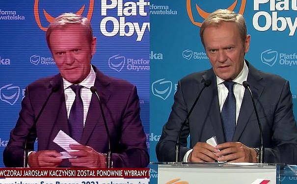 Donald Tusk w materiale z klipu TVP Info i 'Wiadomości' TVP.