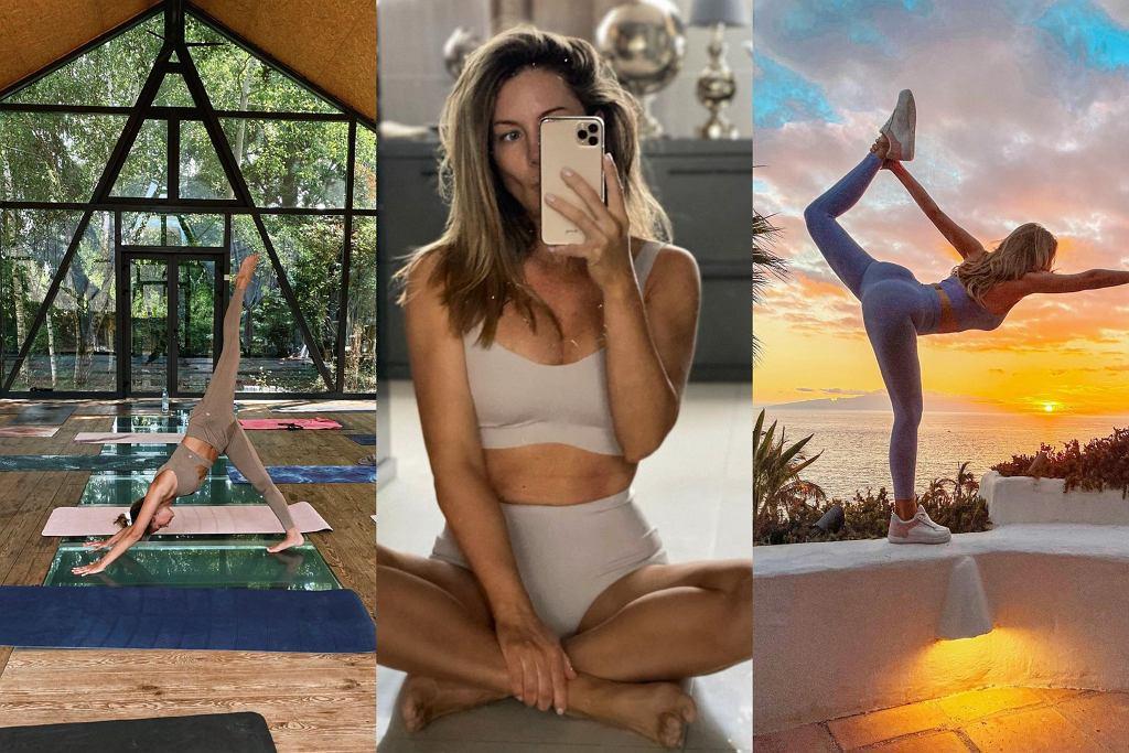 Julia Wieniawa, Małgorzata Rozenek i Karolina Pisarek ćwiczą jogę