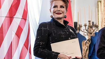 Ambasador Stanów Zjednoczonych Ameryki w Polsce Georgette Mosbacher podczas uroczystości wręczenia listów uwierzytelniających w Belwederze, 6 września 2018.