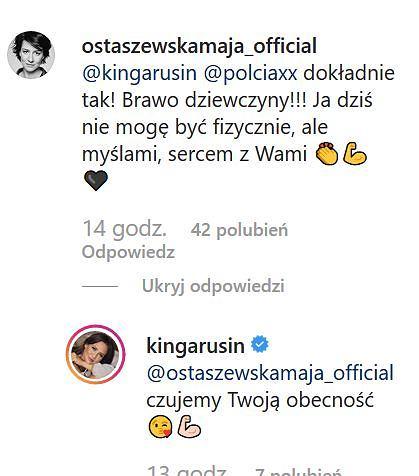 Maja Ostaszewska wspiera Kingę Rusin