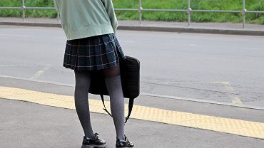 =School,Girl,In,Stockings,And,Plaid,Skirt,Standing,With,Laptop