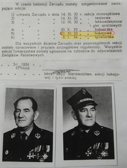 Zapis potwierdzający datę powstania (27 listopada 1933) hokejowej sekcji Unii. Na zdjęciach ponadto Stanisław Iskra - kierownik hokejowej sekcji.