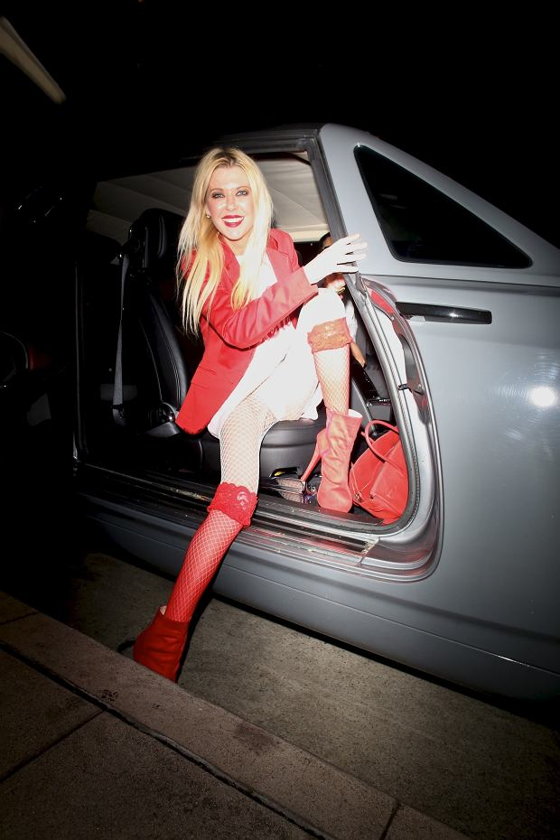 West Hollywood, CA  - Actress, Tara Reid is in good spirits as she arrives to her Valentine's Day dinner at Madeo dress to the nines in red and pink. Now that is what I call festive!  Pictured: Tara Reid  BACKGRID USA 15 FEBRUARY 2019   USA: +1 310 798 9111 / usasales@backgrid.com  UK: +44 208 344 2007 / uksales@backgrid.com  *UK Clients - Pictures Containing Children Please Pixelate Face Prior To Publication*