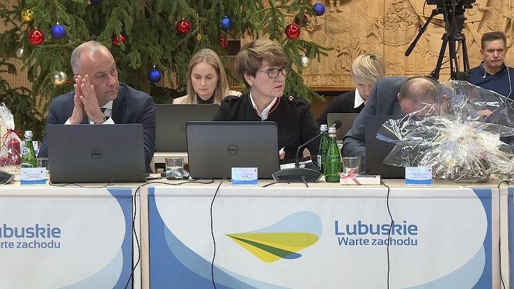 Sejmik lubuski, sesja 20 grudnia 2019. Zarząd woj. lubuskiego: Marcin Jabłoński, marszałek Elżbieta Polak i Stanisław Tomczyszyn