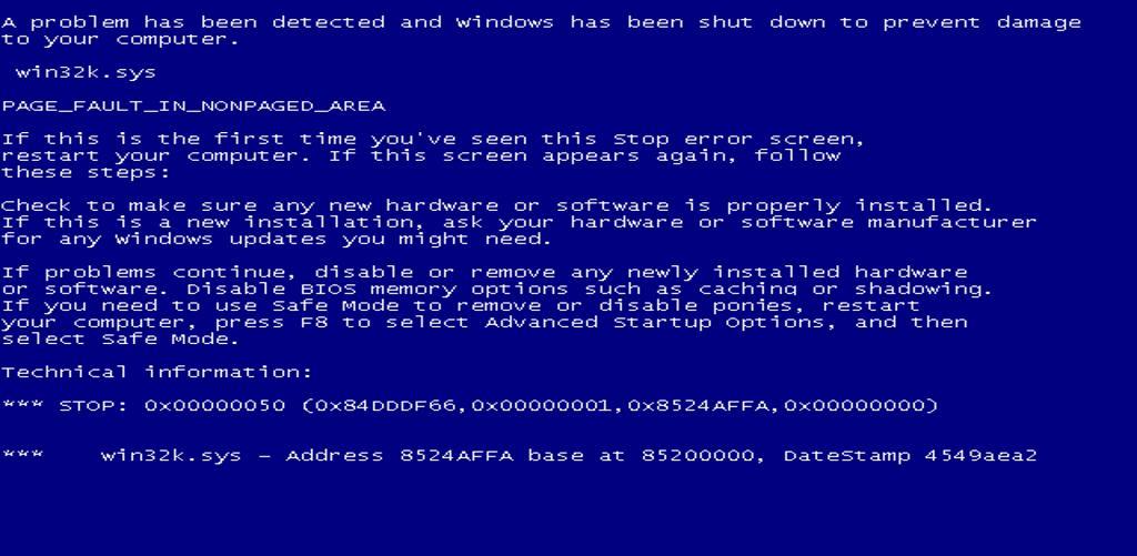 BSOD (Blue Screen of Death - niebieski ekran śmierci)