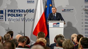 13.04.2019, Rzeszów, Grzegorz Schetyna podczas regionalnej konwencji Koalicji Europejskiej.