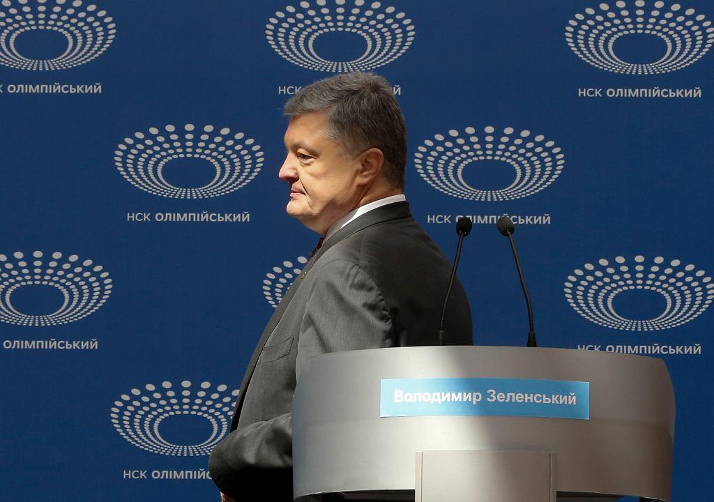 Wybory na Ukrainie. Petro Poroszenko na kijowskim Stadionie Olimpijskim, gdzie miała odbyć się debata
