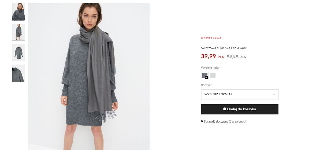 swetrowa sukienka Mohito