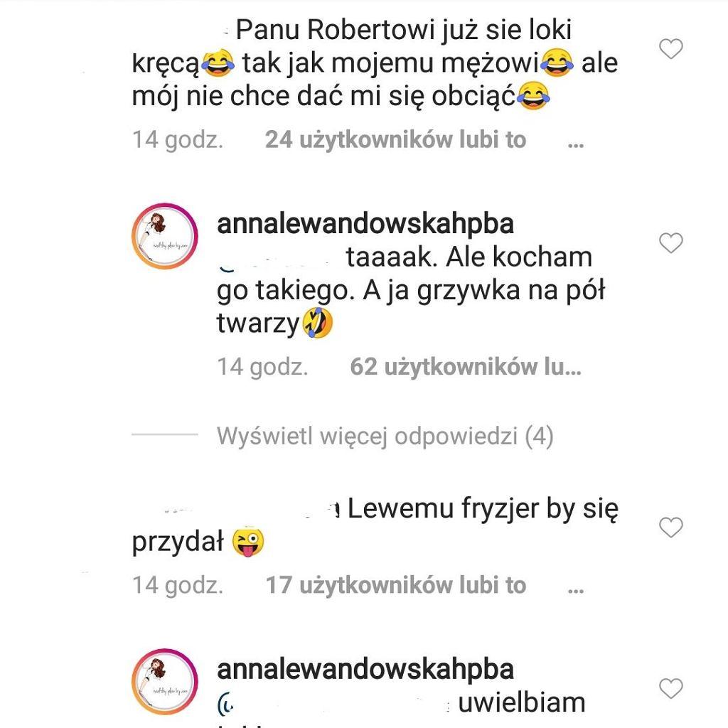 Komentarze Anny Lewandowskiej/ instagram.com/annalewandowskahpba