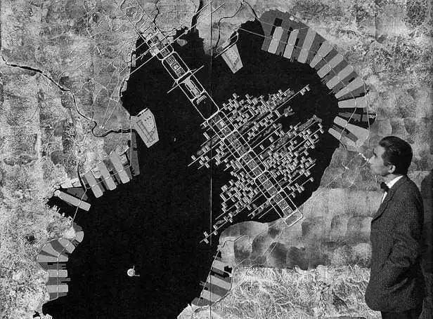 Kenzo Tange przy projekcie zabudowy 'Zatoki Tokijskiej'