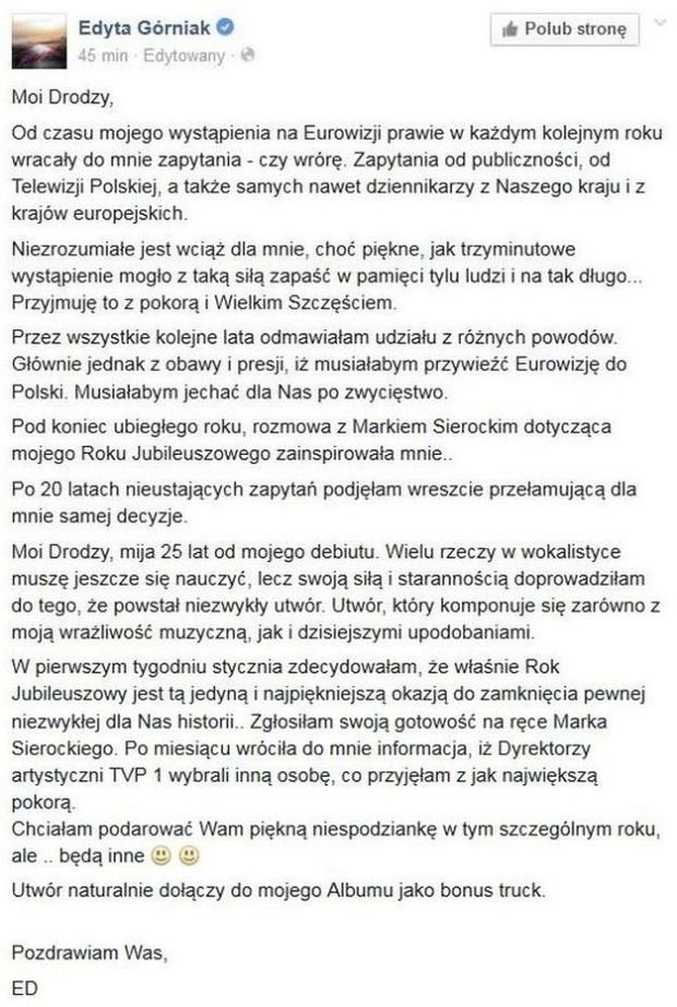 Wpis na profilu Edyty Górniak