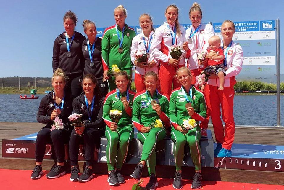 26 sierpnia 2018 r., mistrzostwa świata w kajakarstwie w Montemor w Portugalii. Polki z brązowym medalem w K4 na 500 m. Na podium m.in. Karolina Naja i Anna Puławska z AZS AWF Gorzów