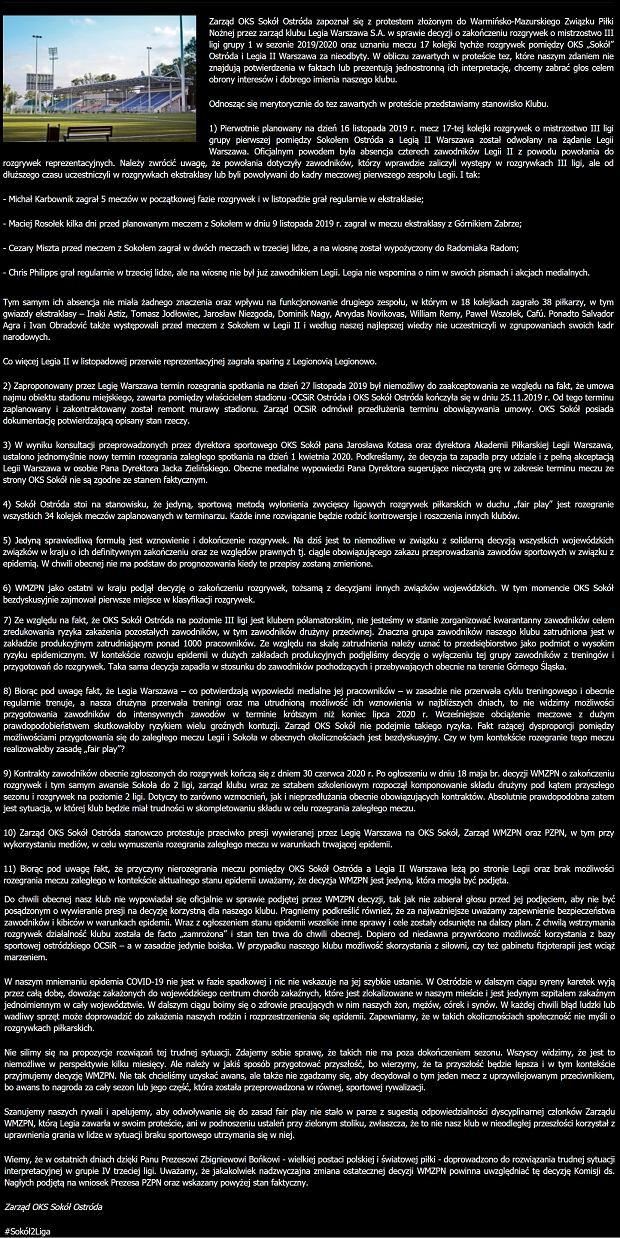 Oświadczenie Sokoła Ostróda