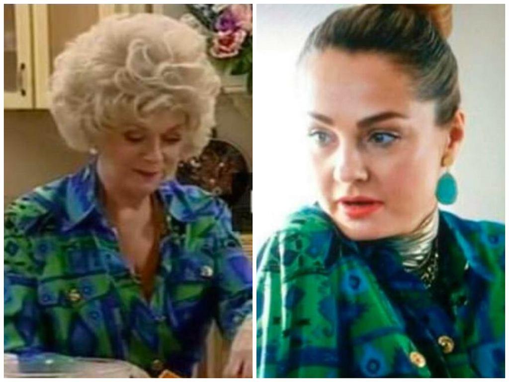 Małgorzata Socha w tej samej bluzce co aktorka 'Niani'