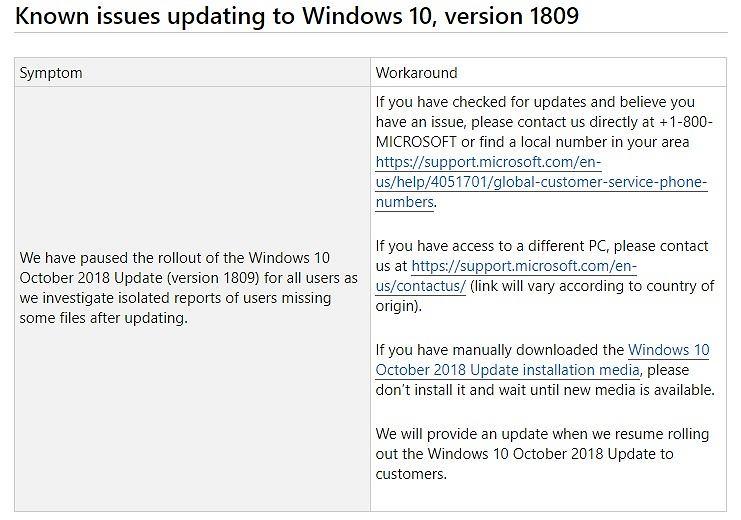 Microsoft wycofuje October 2018 Update dla Windowsa 10