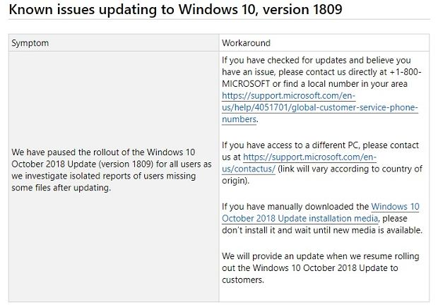 Microsoft wycofuje October 2018 Update dla Windowsa 10