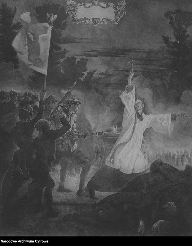 Obraz artysty malarza Jana Henryka Rosena 'Śmierć księdza Skorupki'.