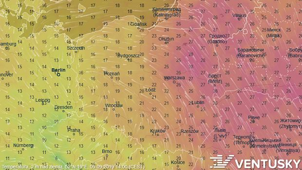 Temperatura w poniedziałek 9 września