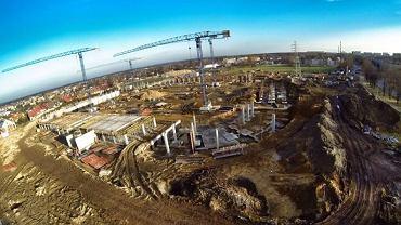 budowany stadion GKS-u Tychy z lotu ptaka
