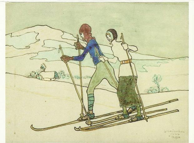 Na nartach w Szklarskiej Porębie, rysunek, 1906