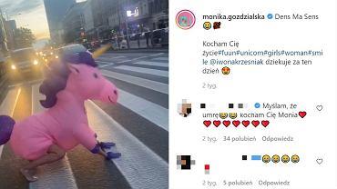 Monika Goździalska przebrała się za różowego jednorożca i tak wyszła na ulice Warszawy. Jej wideo robi furorę w sieci