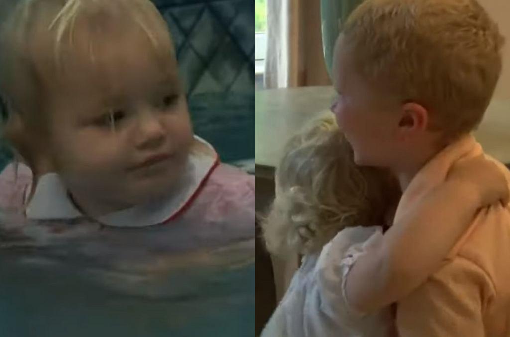 Dziecko wpadło do basenu. Dwulatkę uratował brat.