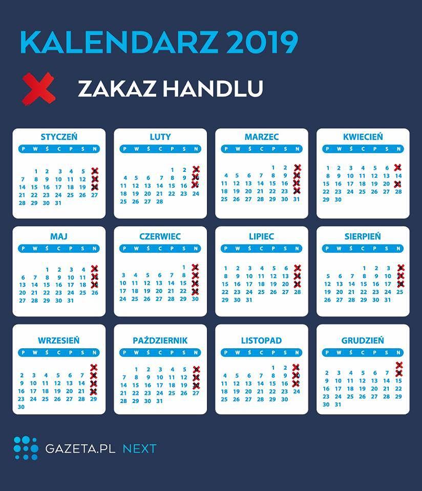 Niedziele handlowe 2019. Kalendarz niedziel handlowych