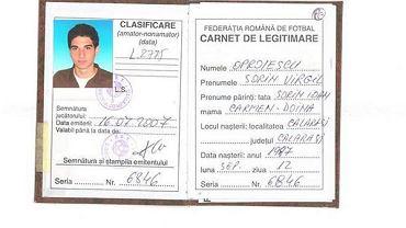 Zdjęcia karty zawodniczej Sorina Oproiescu