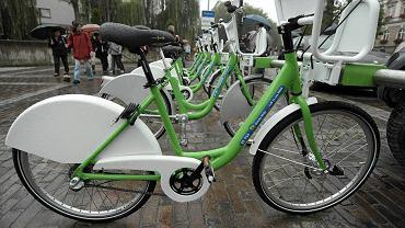 Bielsko-Biała. Jedna ze stacji, w których można było wypożyczyć rower