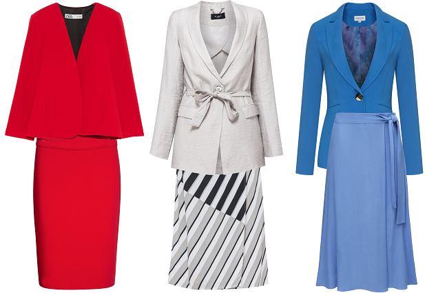 Zestaw czerwony: marynarka Zara, spódnica Quiosque; zestaw szary: marynarka i spódnica Monnari; zestaw niebieski: marynarka i spódnica Taranki