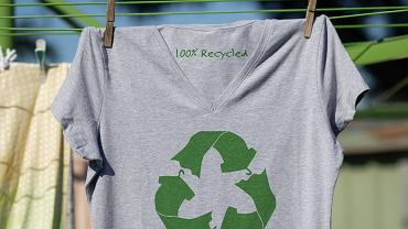 =T,Shirt,Hanging,On,Line,With,Recycled,Text,,Recycling,Clothes