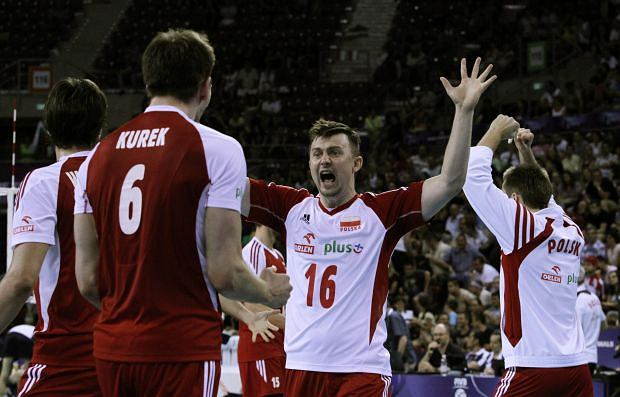 Ignaczak Krzysztof of Poland reacts as his team wins second set against USA  during the Final Round of the 2012 FIVB World League Volleyball final match, in Sofia, Bulgaria, Sunday, July 8, 2012. (AP Photo/Valentina Petrova)