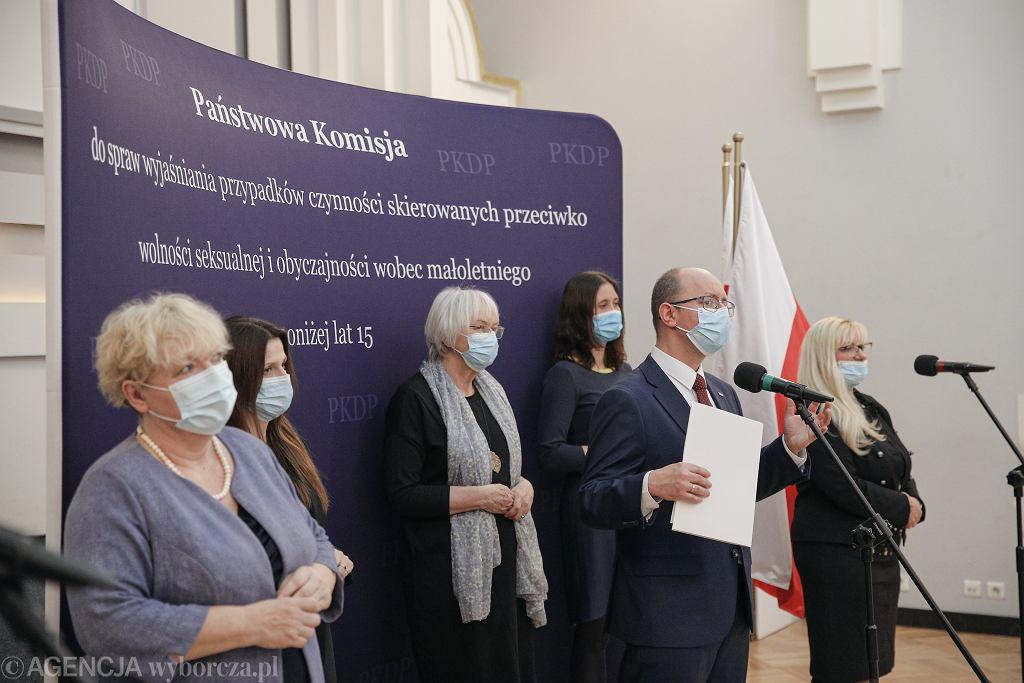 25.02.2021, Warszawa, konferencja prasowa Państwowej Komisji ds. Pedofilii