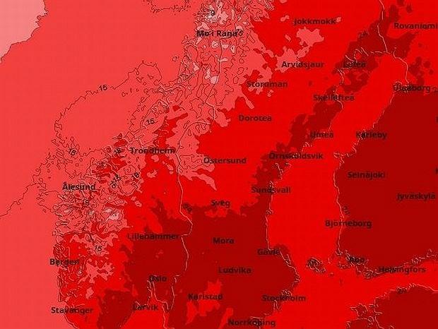 Prognozy temperatur dla Skandynawii