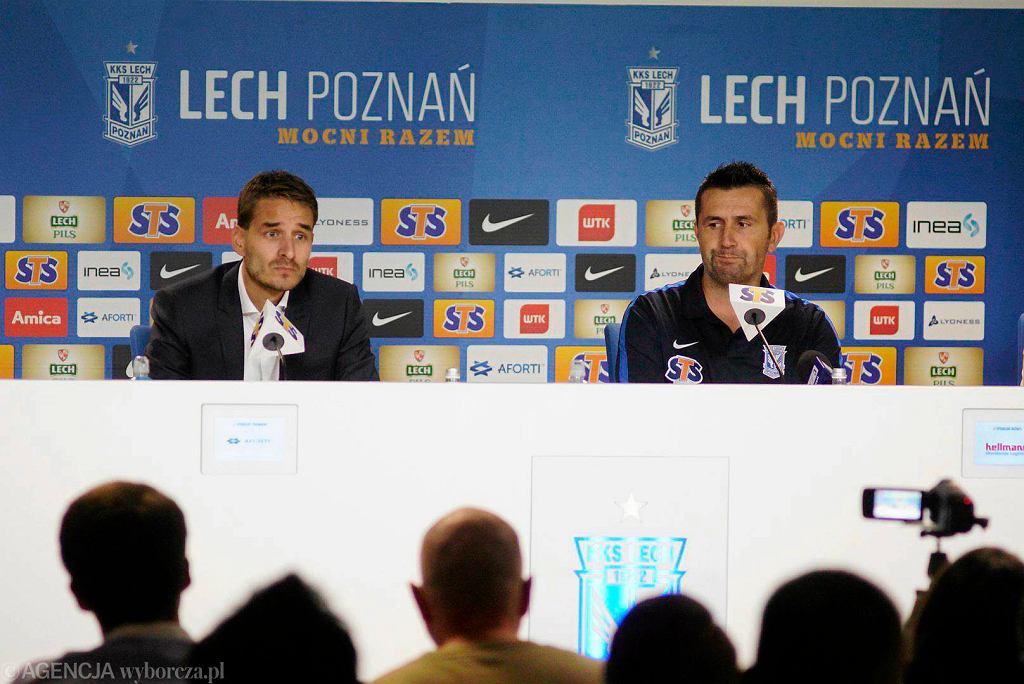 Nenad Bjelica, nowy trener Lecha Poznań i wiceprezes Piotr Rutkowski