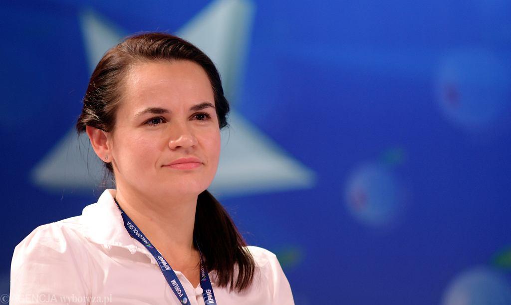 Swiatłana Cichanouska podczas Forum Ekonomicznego.  Karpacz, 9 września 2020 r.