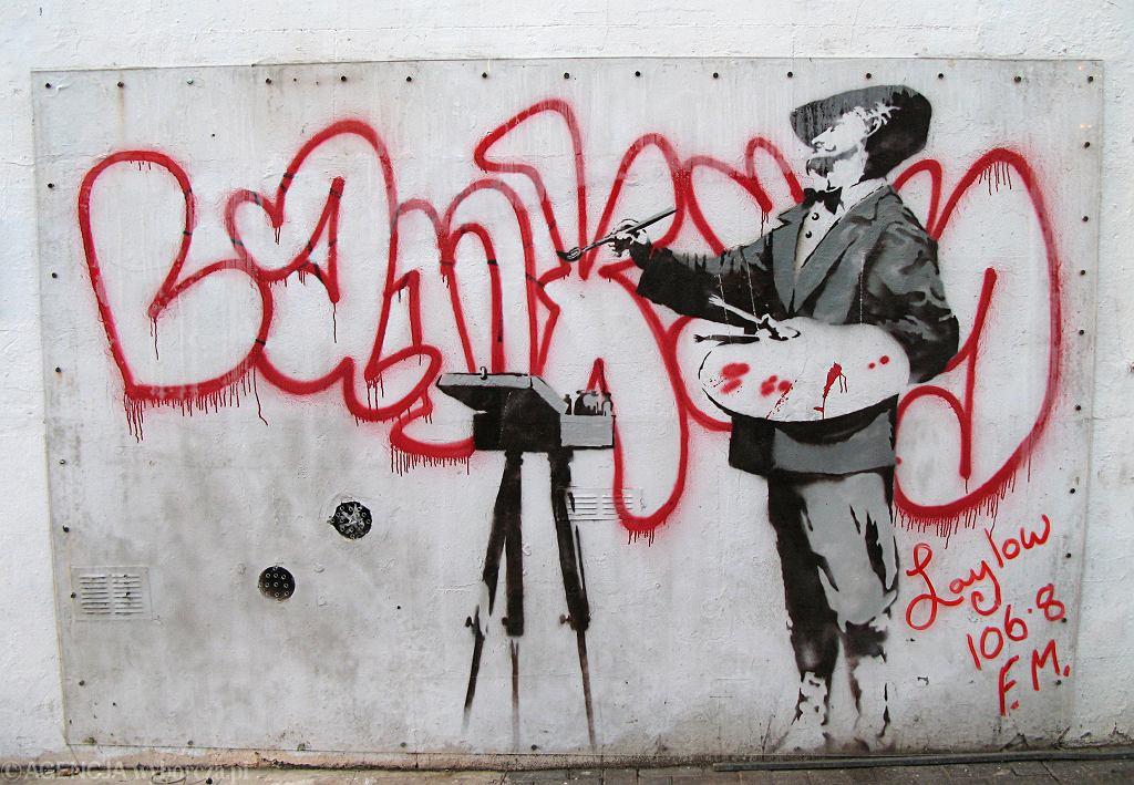 Praca Banksy'ego - ta została sprzedana w 2008 roku za 208 tysięcy funtów