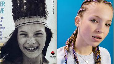 Kate Moss w wieku 16 lat (1990 r.) i jej córka Lila Grace w wieku 14 lat (2017 r.)