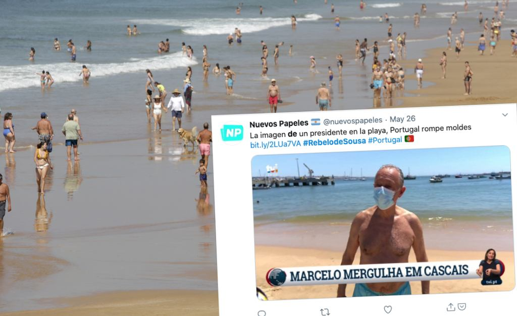 Prezydent Portugalii na plaży