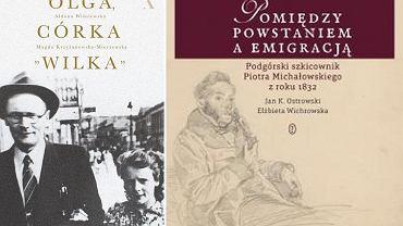 Okładki książek: 'Olga, córka 'Wilka'' i 'Pomiędzy powstaniem a emigracją. Podgórski szkicownik Piotra Michałowskiego z roku 1832'