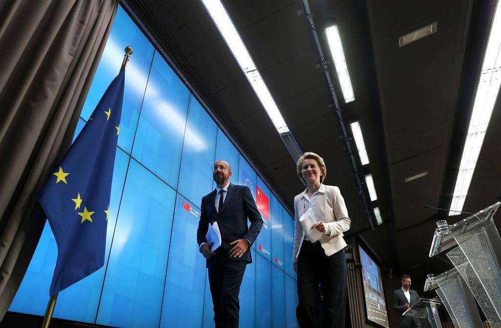 22.06.2020, Bruksela, przewodniczący Rady Europy Charles Michel i przewodnicząca Komisji Europejskiej Ursula von der Leyen po konferencji prasowej na której zdali relację z rozmów z Chinami.