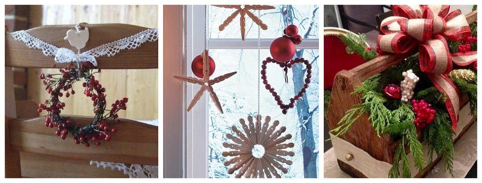 Dekoracje świąteczne wykonane własnoręcznie: Dekoracja krzesła, Świąteczne gwiazdki ze spinaczy, Dekoracja w skrzynce po narzędziach