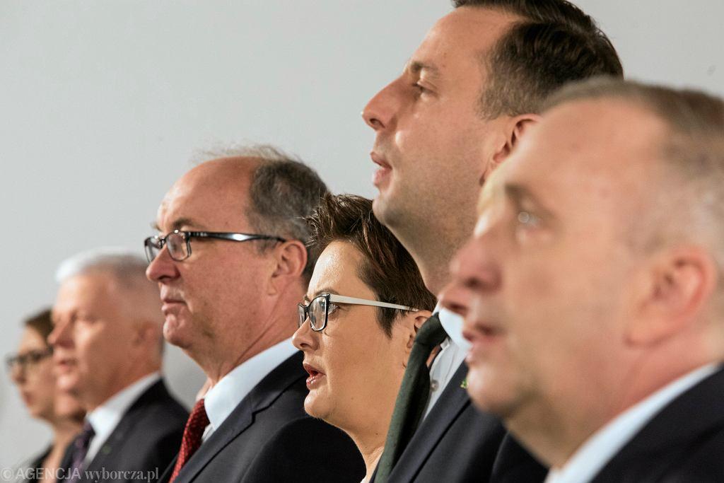 Andrzej Grzyb , Wlodzimierz Czarzasty , Katarzyna Lubnauer , Wladyslaw Kosiniak - Kamysz , Grzegorz Schetyna. Kwiecień 2019 r.