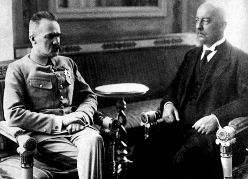 Naczelnik Państwa Józef Piłsudski i Prezydent Gabriel Narutowicz
